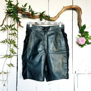 Pants - Designer Leather Hi-Rise Biker Style Shorts, Sz 28